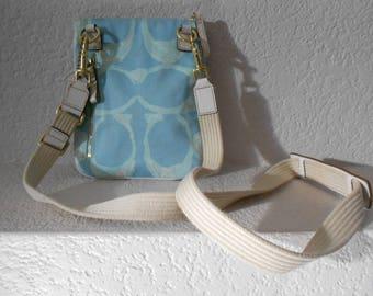 COACH cross body messenger bag/Canvas multi color/Brass hardware/Adjustable strap/Small size messenger bag