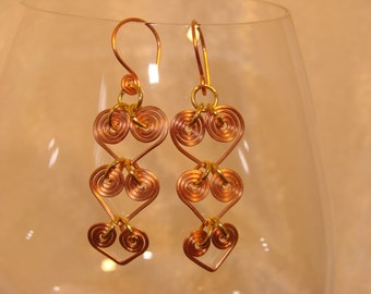 Mother's Day  Heart Link Spiral Earrings