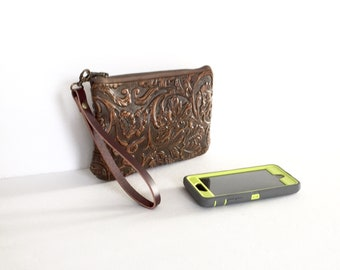 On Sale  Discounted Embossed Leather Smartphone Wallet, Small Purse , Wristlet