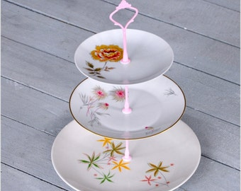 Poms: Cake Stand, 1950's Mid Century Vintage China Tea Stand