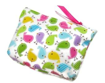 Coin purse, Small coin purse, Small zippered coin purse, Zipper coin purse, Wallet,  birdies