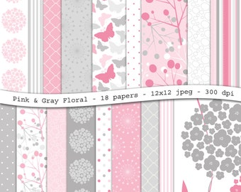 Pink and gray floral digital scrapbooking paper pack - 18 printable jpeg papers, 12x12, 300 dpi - instant download