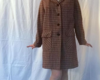 1970s Brick Red and Navy Plaid jacket
