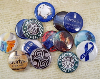 Whovian Collection No.2 Flatback Buttons, Pins, Magnets 12 Ct.