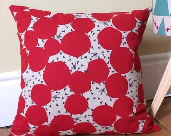 Red Bubble with Swallows Linen Cushion, Japanese Linen, Swallows, Red and Black Pillow