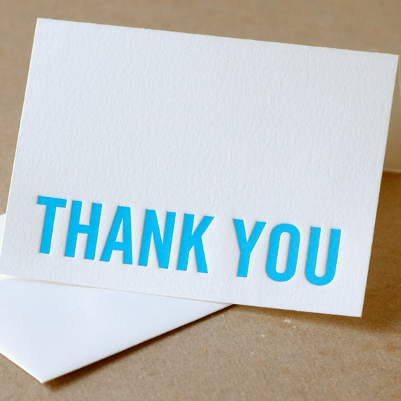 Letterpress Thank You Cards : True Blue Modern Block Thank You Notes - box of 5 small folded cards w soft white envelopes