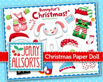 Christmas Paper Doll Printable featuring Bunnyfur