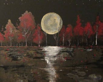 Yestereve - Small Serene Moon over Autumn Forest Painting