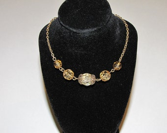 Champagne long swarovski style chain necklace