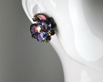 Vintage Judy Lee Purple Pink Flower Rhinestone Clip Earrings