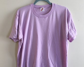Retro 80s Jerzees Plain Lavender T-Shirt