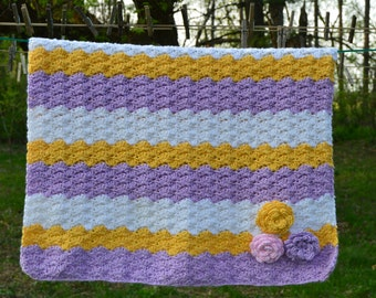 Purple and Yellow Shell Stripe Baby Blanket with Crocheted Roses