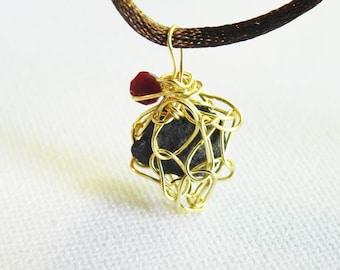 Iceland Lava Necklace, Natural Lava Stone, Rustic, Gold Crochet, Icelandic Lava Jewelry, Lava Pendant, Gold Wire,  Gift
