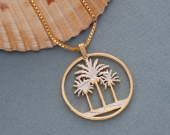 Palm tree pendant etsy palm tree pendant and necklace iraq palm tree coin hand cut 14 karat gold mozeypictures Choice Image