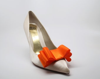 Orange Satin Ribbon Bow Shoe Clips Set Of Two, More Colors Available