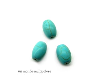 3 oval 17 x 11 mm veined turquoise beads