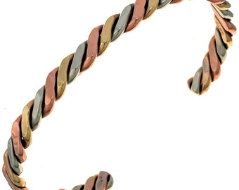 Navajo Twist Wire Cuff Bracelet Silver Copper Gold