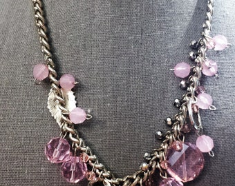 pink necklace with silvertone chain
