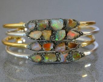 Opal Bracelets - Raw Opal Jewelry - Raw Gemstone Bracelet - October Birthstone Jewelry Mother's Day Gift Ideas Wedding Anniversary Gift