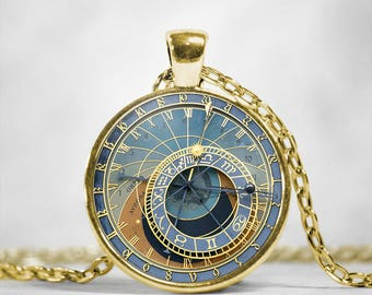Prague Astronomical Clock Necklace Gold Plated Round Pendant