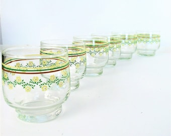 Vintage Juice Glasses with Sunflowers,  Set of 6