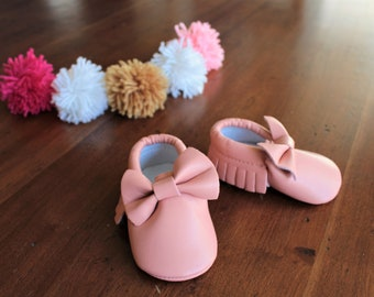 Baby Moccasins, Baby Blush Pink Bow Moccasins, Vegan Leather