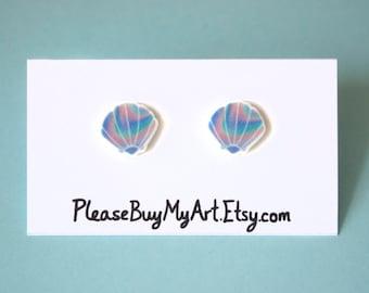 Mermaid Seashell Pastel Rainbow Stud Earrings Post Earrings Cute Jewelry Accessories Gift Idea