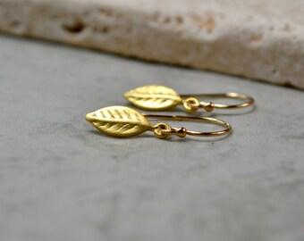 Gold Leaf Earrings, Tiny Gold Earrings, Vermeil Earrings, Gold Leaf Jewelry, Wife Gift, Golden Wedding Anniversary, Brushed Gold Earrings UK