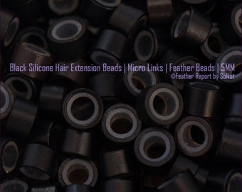 Black Silicone Beads 5MM 30 Beads for Hair Extensions / Black Hair Beads / Feather Beads / Hair Extension Supplies