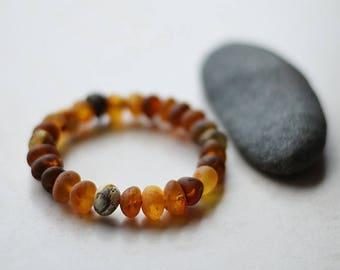 Natural bracelet/modern style/ unpolished baltic amber/ baroque form/ mix color/quality/ best gift