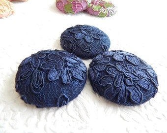 3 navy blue embroidered fabric buttons, 1 7/8 inches, 1.9 inches, 4.7 cm, 48.26 mm, size 75 buttons