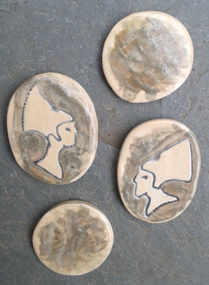 Set Of 4 Egyptian Mosaic Tiles Ceramic Pharoah Akenaten