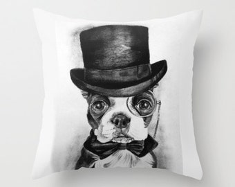 "16x16"" Throw Pillow Cover featuring a Boston Terrier in a Top Hat"
