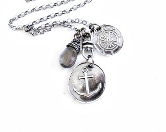 Compass and ANCHOR Wax Seal Necklace Rustic Nautical Jewelry Artisan Wax Seal Jewelry with Labradorite Gemstone Briolette