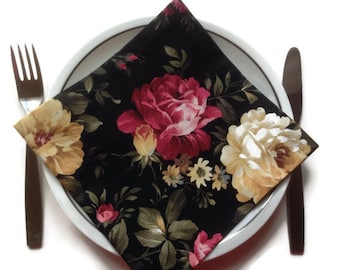 Black Floral Fabric Dinner Napkins Eco Friendly 100% Cotton Napkins Roses - set of 4 - Ready to Ship!