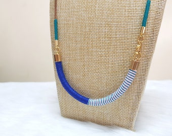 Rope Necklace, Beach Necklace, Summer Necklace, Summer Jewelry for Women, Blue Necklace, Thread Necklace, Bohemian Necklace for Girls