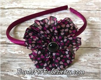 Black Pink and Plum Heart Printed Flower Basic Headband, Toddler Headband, Valentines Day Headband, Basic Headband, Hair Accessory, Bow