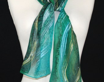 Small Silk Scarf Green Teal Hand Painted Chiffon NATURAL TREASURE. Size 8x54 Birthday, Anniversary Gift. Mother's Day Gift, Bridesmaid Gift
