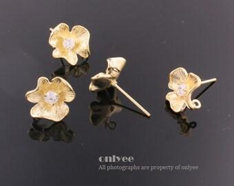1pair/2pcs-11mmX11mmGold plated Brass Zircon Earrings Shapely Stone Flower Hook Ear post(K534G)