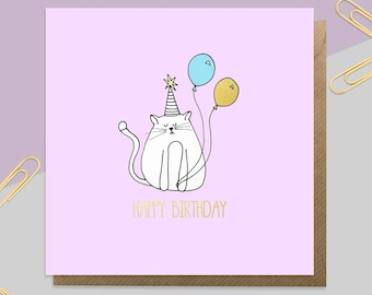 Gold Foil Cat Birthday Card
