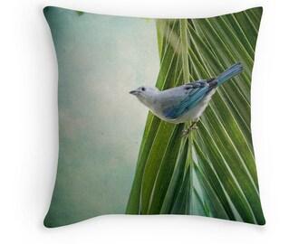 Bird Decor, Nature Decor, Blue Bird, Bird Cushion, Costa Rica Decor, Blue Grey Tanager, Bird Cushion Cover, Bird Throw Pillow
