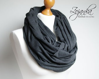 Oversized Infinity Scarf, GREY infinity scarf, Chunky large cotton snood, hooded circle Scarf, extra large Jersey Infinity scarf, gift ideas