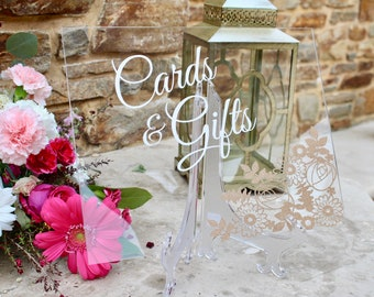 Custom Acrylic Cards and Gifts Sign | Clear Wedding Sign | Cards Sign | Gifts Sign | Floral Wedding Decor | Wedding Decor Signs