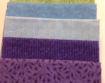 Stash Builder,  Assorted Purple, Turquoise and Green Prints, Fabric Bundle