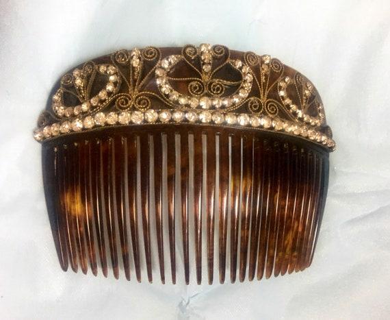 Vintage 1930s Large Tortoise Shell Rhinestone Filigree Hair Comb