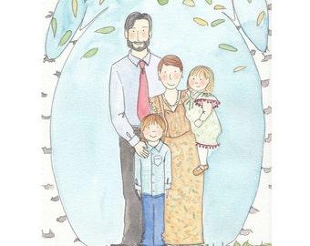 Custom Family Portrait Illustration-Personalized Family Painting-Handmade Family Painting-Original Portrait Artwork
