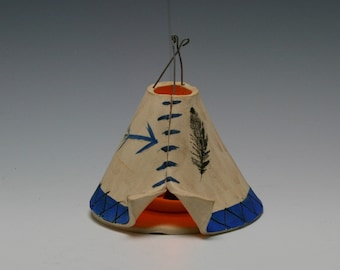 Ceramic Incense Burner TeePee that smokes, Off White, Blue, and Black, Aztec Design, Native American/Ceramics and Pottery