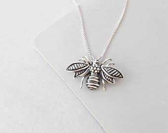 Bee Necklace - Sterling Silver - Bee Jewelry - bumble bee - Nature Jewelry - Gift For Her - Silver Necklace - Gift For Women
