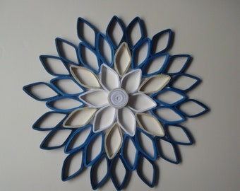 Navy Home Decor Paper Dahlia Wall Hanging White Navy Blue Paper Wall Art