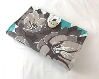 Blue Tea Wallet Tea Bag Wallet Tea Bag Case Tea Bag Holder Tea Holder Tea Bag Cozy Tea Bag Organizer - Riley Blake Desert Bloom Main in Blue